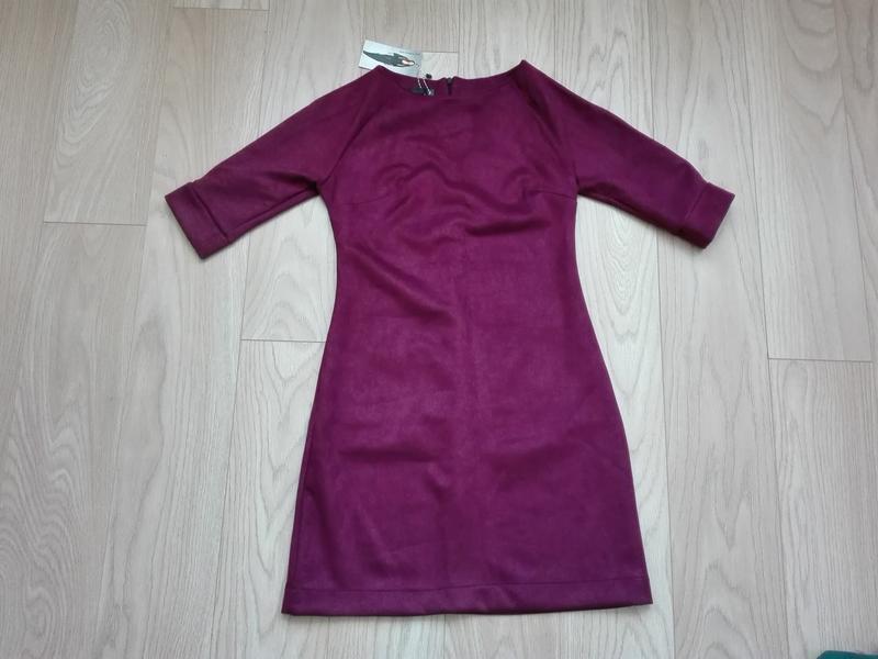 Короткое замшевое платье красивого винного цвета, марсала, бордо - Фото 6