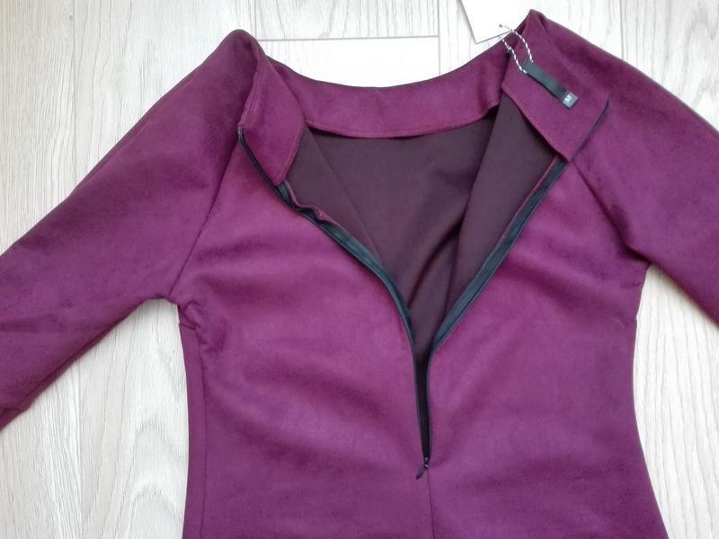 Короткое замшевое платье красивого винного цвета, марсала, бордо - Фото 7