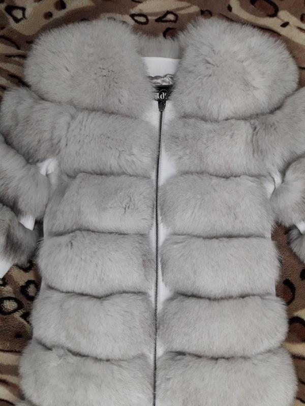 Красивая тёплая шубка из финского песца белая шуба колотый лёд - Фото 2
