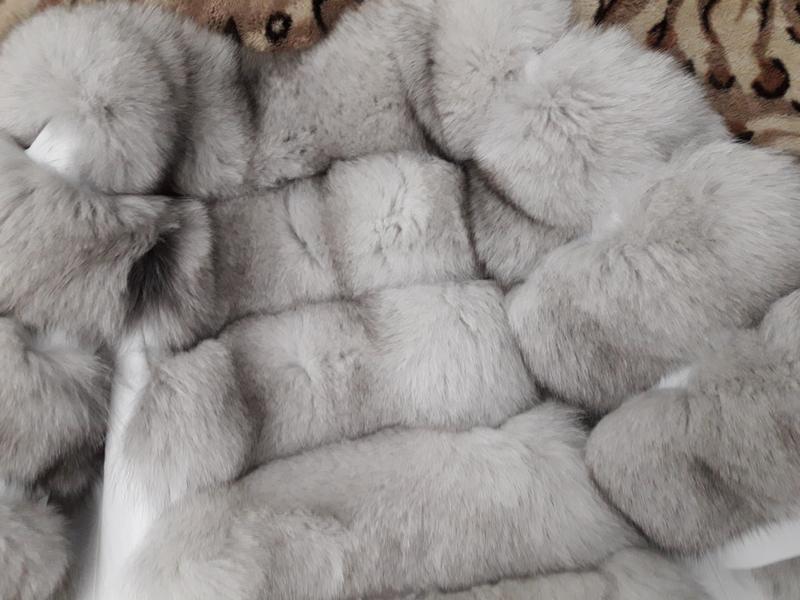 Красивая тёплая шубка из финского песца белая шуба колотый лёд - Фото 3