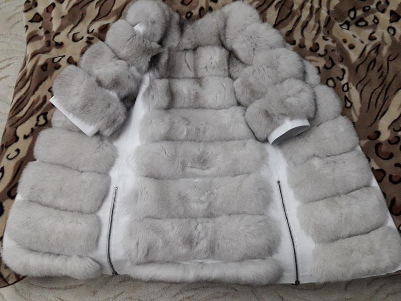 Красивая тёплая шубка из финского песца белая шуба колотый лёд - Фото 4