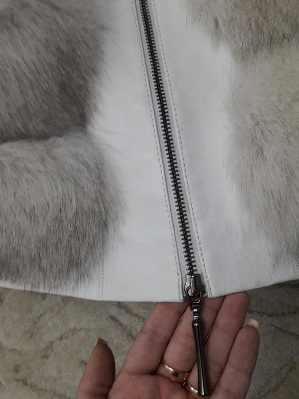 Красивая тёплая шубка из финского песца белая шуба колотый лёд - Фото 5