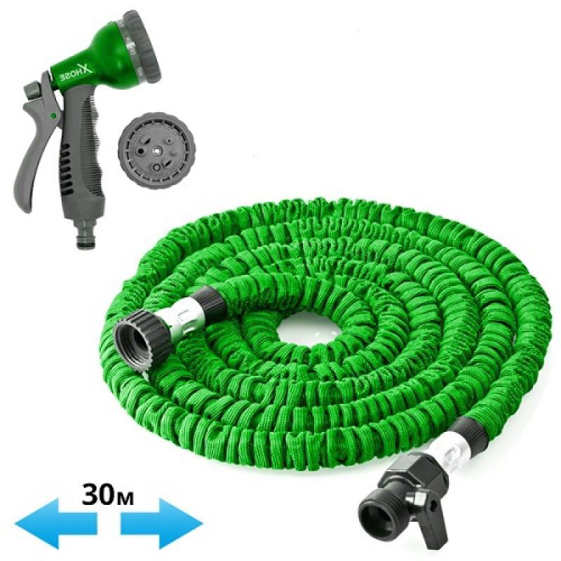 Шланг садовый поливочный X-hose 30м, зеленый, Шланг для полива...
