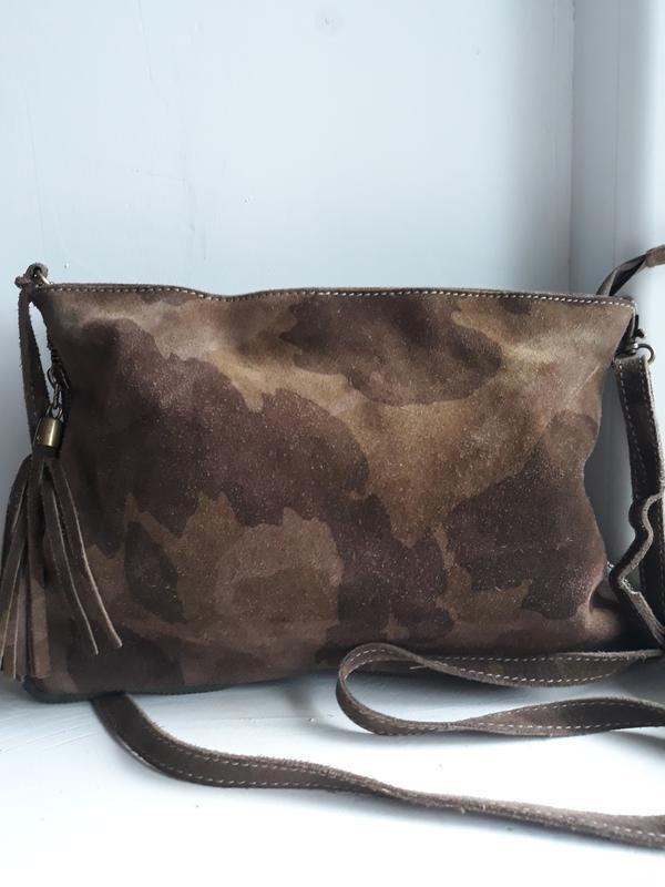 Замшевая сумка кроссбоди genuine leather.
