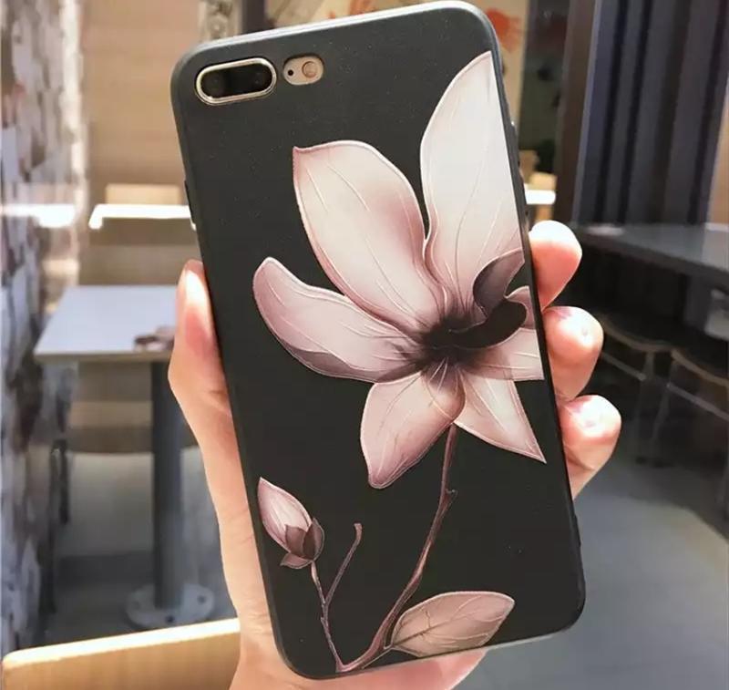 Новый чёрный чехол с цветком на айфон iphone 8 плюс