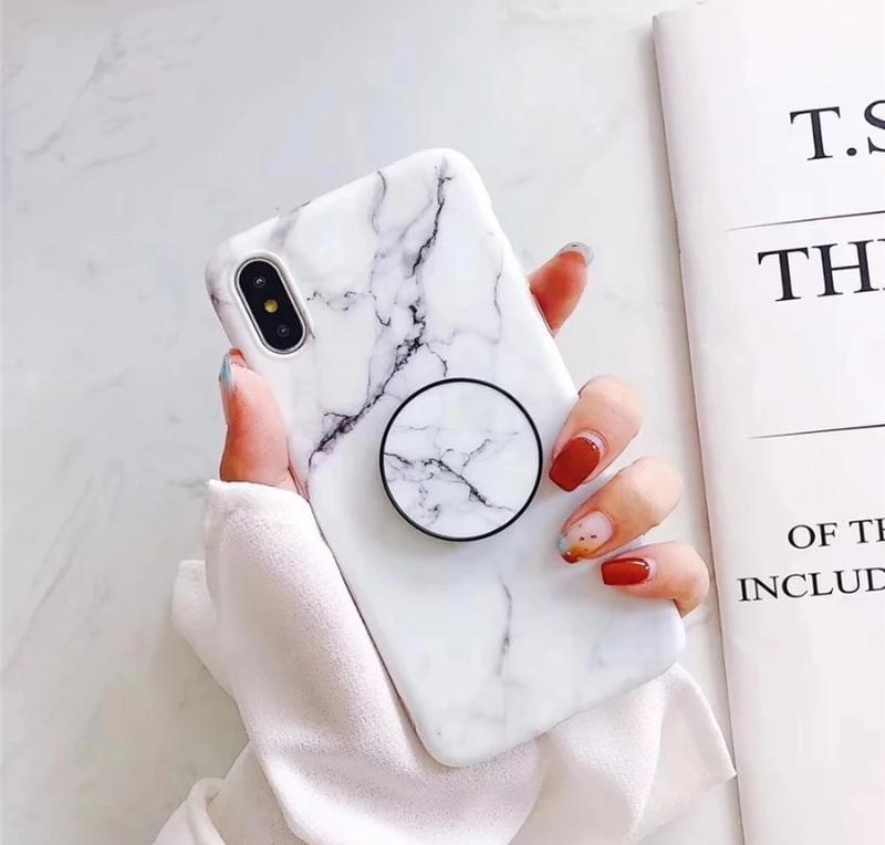 Новый мраморный чехол с попсокетом на айфон iphone 7+ плюс