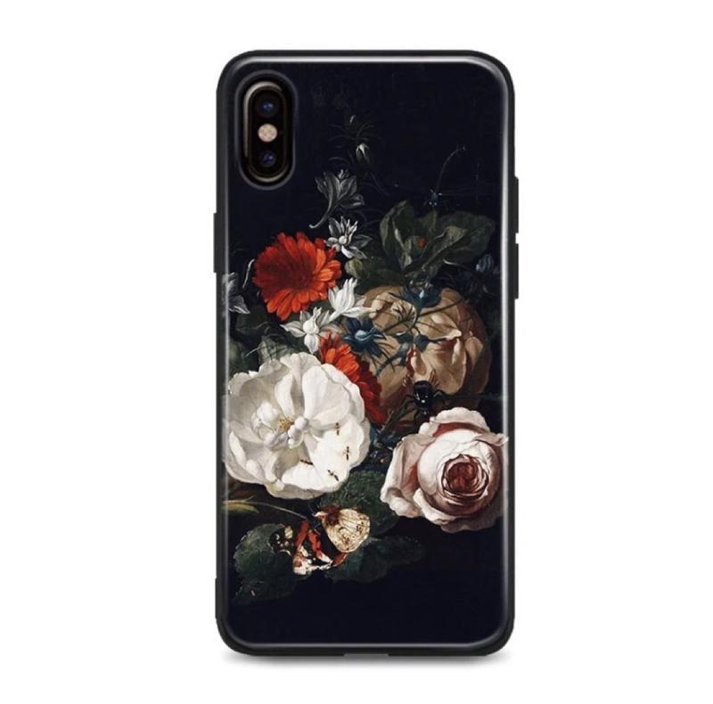 Новый чёрный силиконовый чехол с цветами на айфон iphone 6 или 6s