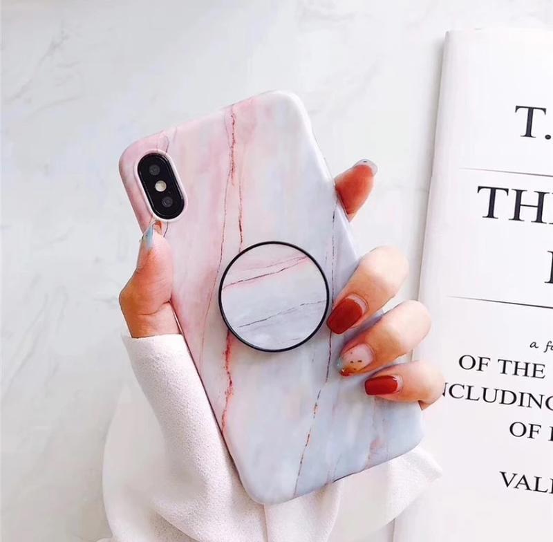 Новый мраморный чехол с попсокетом на айфон iphone 6+ плюс или...