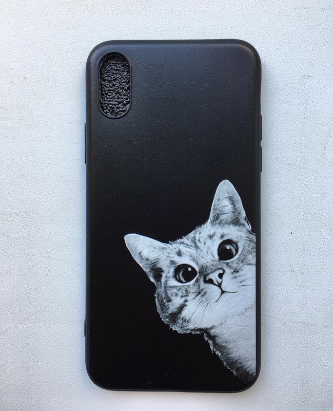 Новый чёрный чехол на айфон 10 iphone x с котиком