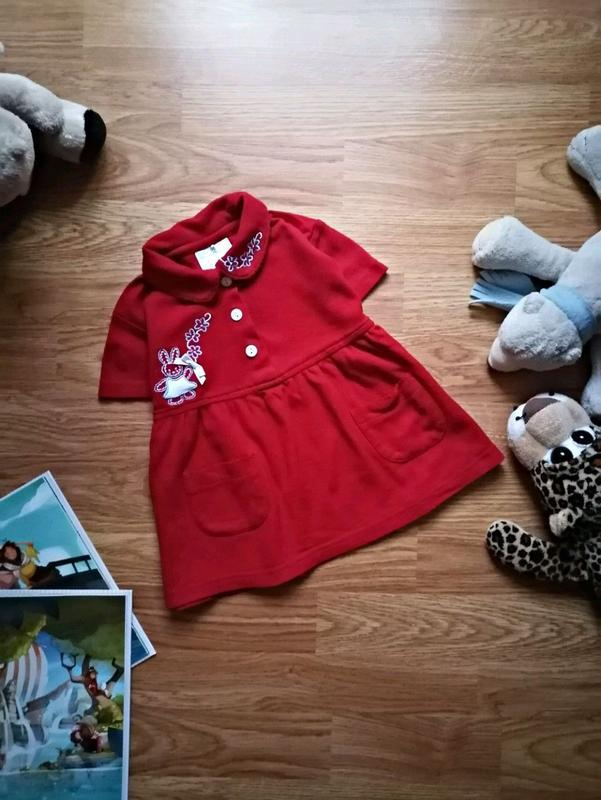 Детское милое комфортное трикотажное платье - возраст 1-1,5 года
