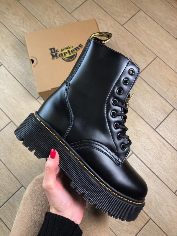 Dr. martens jadon black fur женские зимние ботинки мартинс чёр...