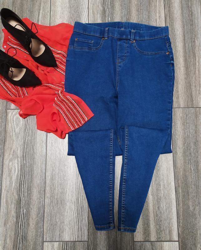 Стильные плотные джинсы скинни с высокой посадкой талией джегг...