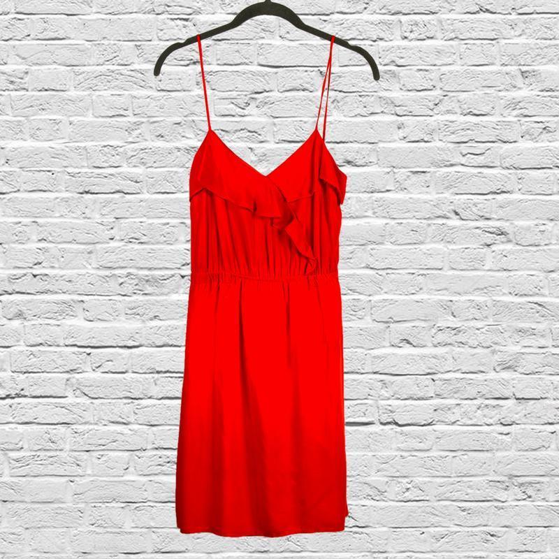 Красный сарафан на бретелях, летнее платье на тонких бретелях
