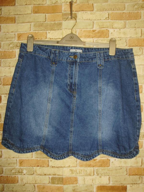 Новая джинсовая юбка с эффектом потертостей 16/50-52 размера