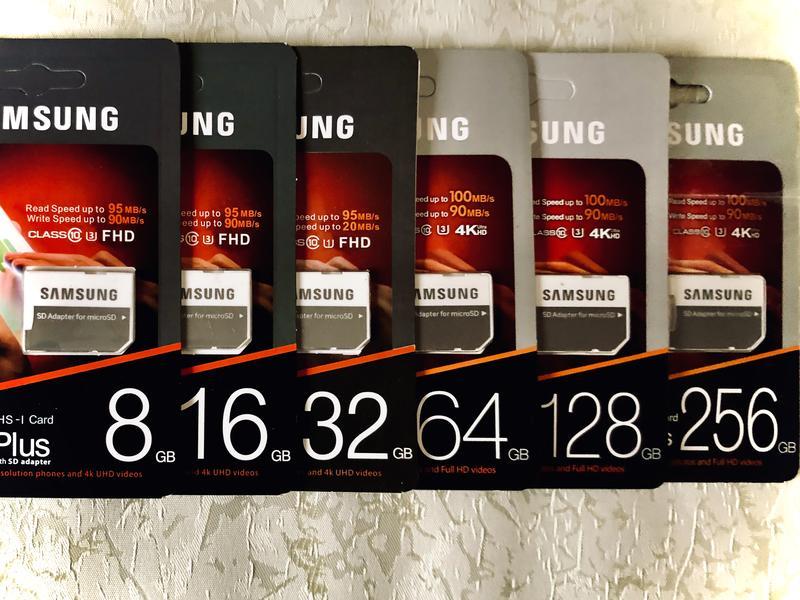 Карта памяти  8 16 32 64 128 256 микро СД 10 класс Самсунг  4К - Фото 3