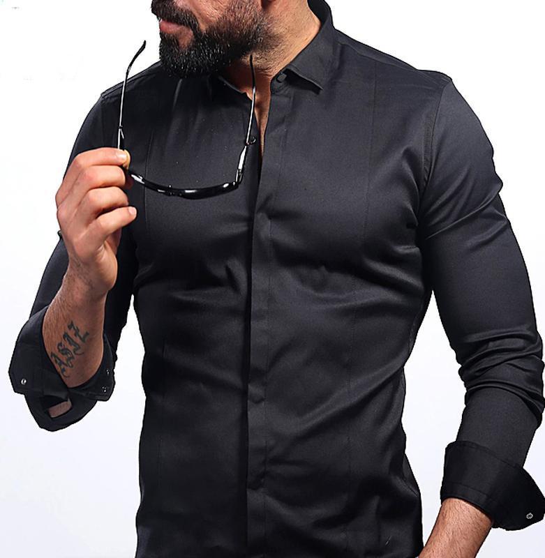 Чёрная приталенная мужская рубашка slim fit коттон 100% на выс...