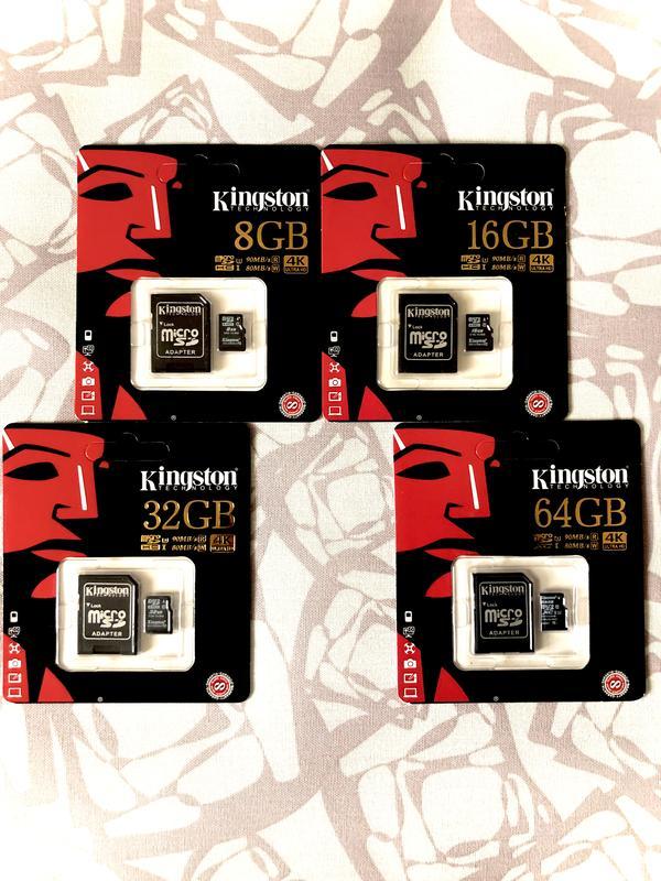 Карты памяти 8 16 32 64 128 256 Kingston  10 класс микро СД  4К - Фото 3