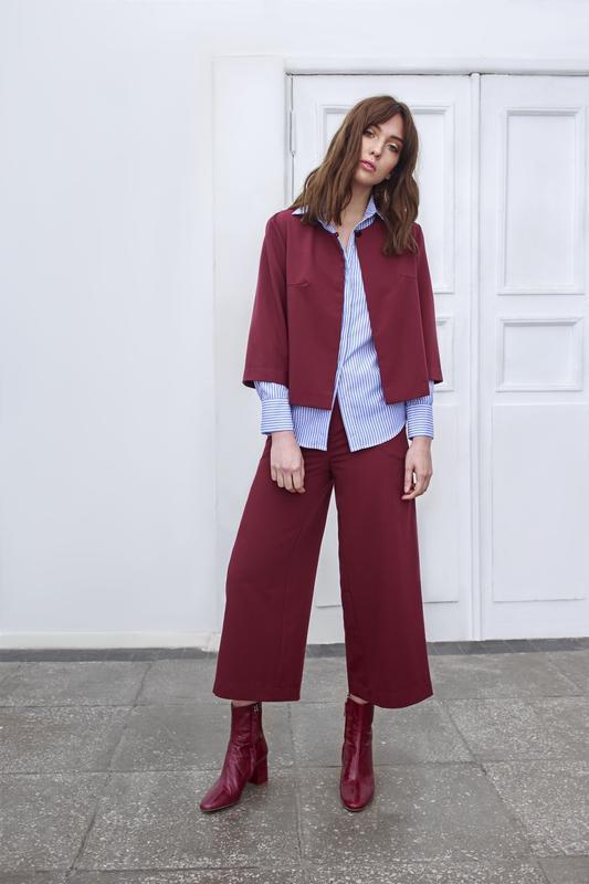 №158 брюки кюлоты цвета марсала от zero