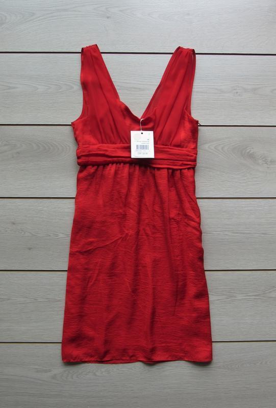 №19 новое яркое красное платье сарафан от naf-naf