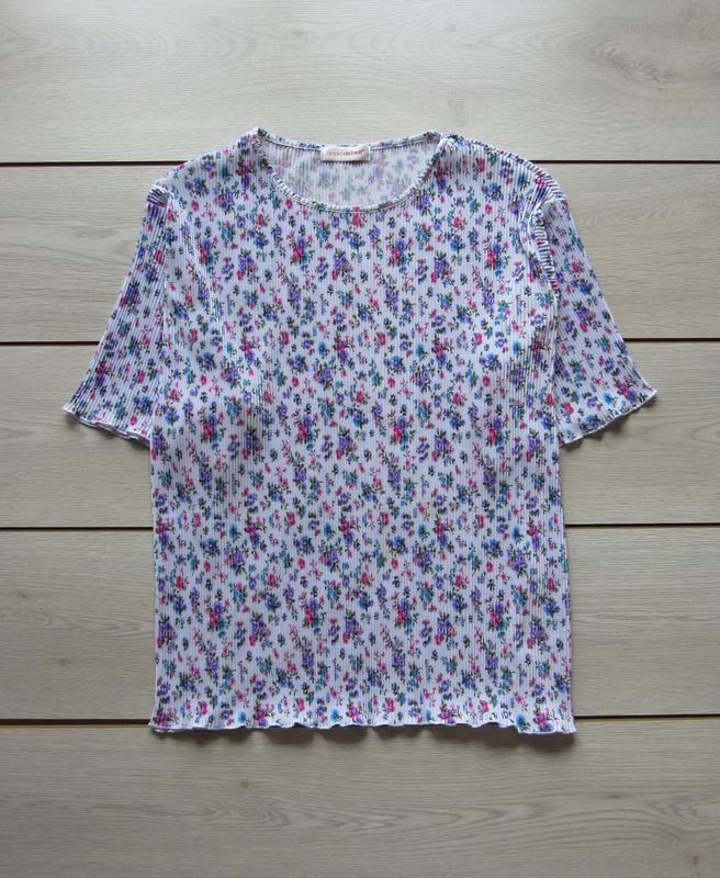 Акция к лету №104 блуза плиссе в цветочный принт большой разме...