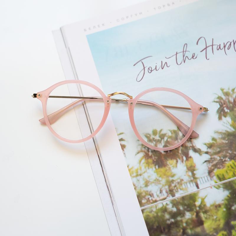 Имиджевые очки нулевки стильные в розовой пластиковой оправе к...