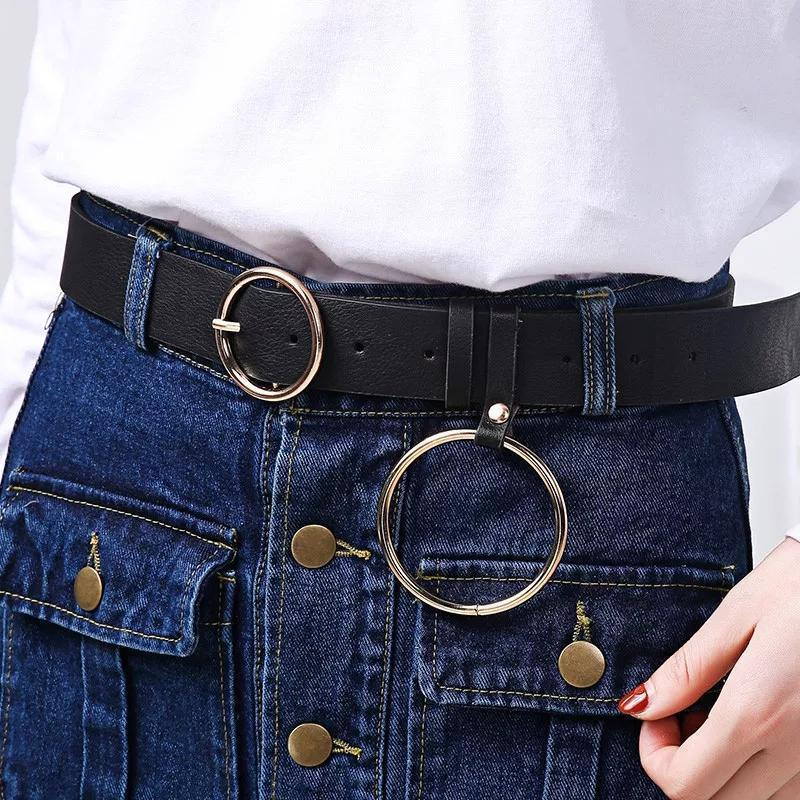 Пояс ремень кожаный с кольцом с круглой бляхой пряжкой унисекс...