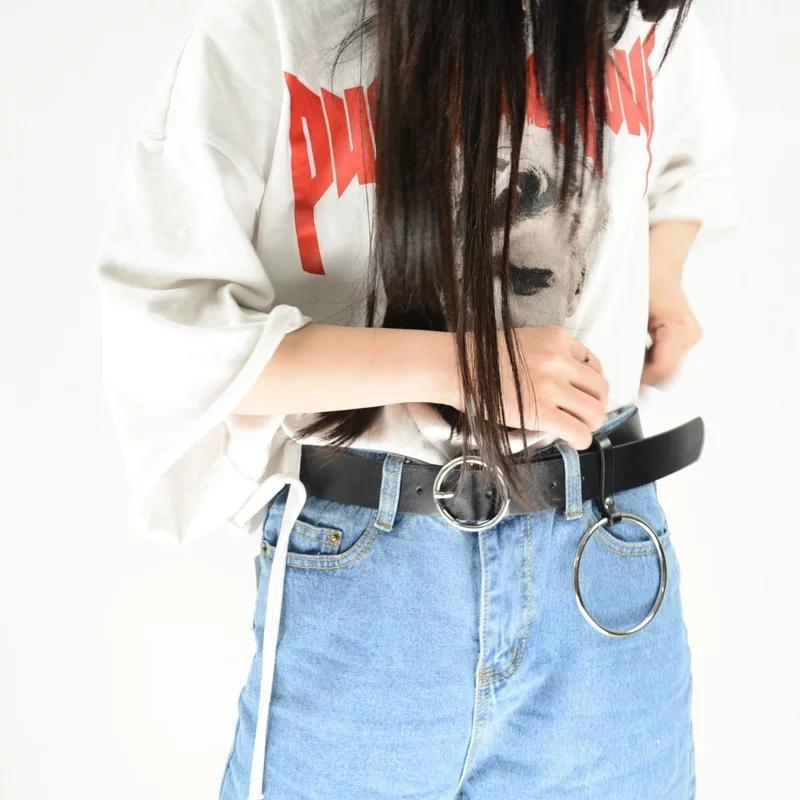Пояс ремень кожаный с кольцом с круглой бляхой пряжкой унисекс... - Фото 5