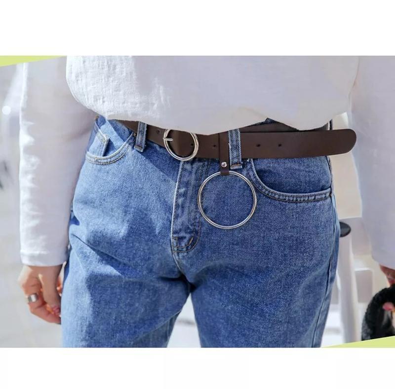 Пояс ремень кожаный с кольцом с круглой бляхой пряжкой унисекс... - Фото 7