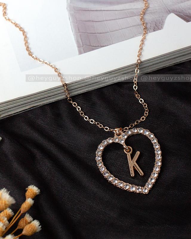 """Трендовый кулон сердце с буквой """"k"""" золотой на цепочке подвеск..."""