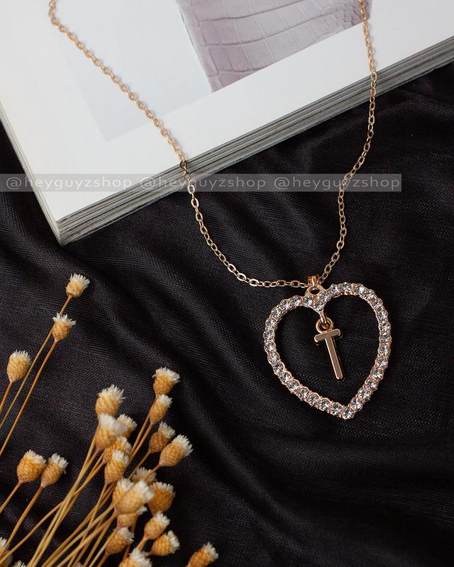 """Трендовый кулон сердце с буквой """"т"""" золотой на цепочке подвеск..."""