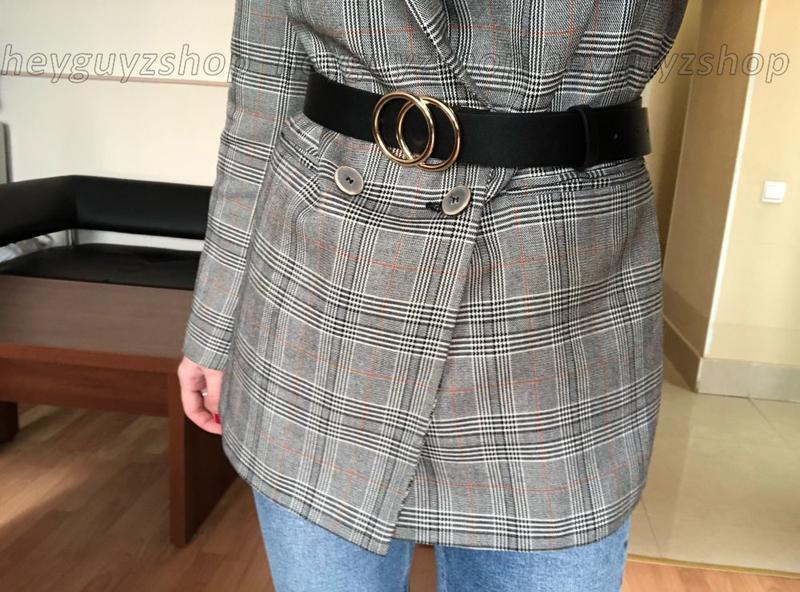 Женский кожаный ремень в стиле гуччи с двумя кольцами эко-кожа...
