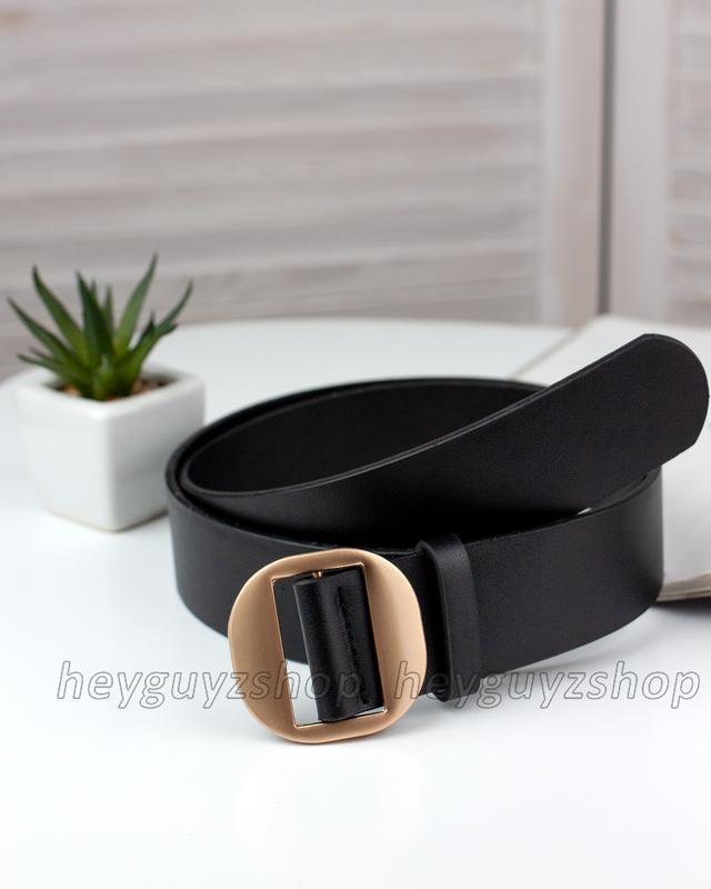 Черный женский кожаный ремень эко-кожа ретро пояс с круглой зо...
