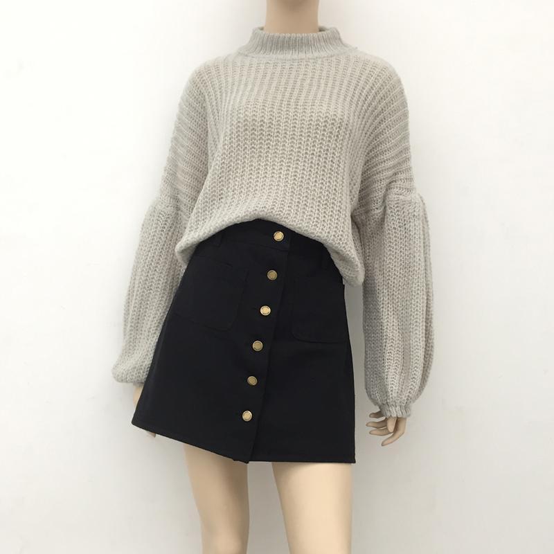 Черная джинсовая юбка на пуговицах с карманами трапеция а силуэта