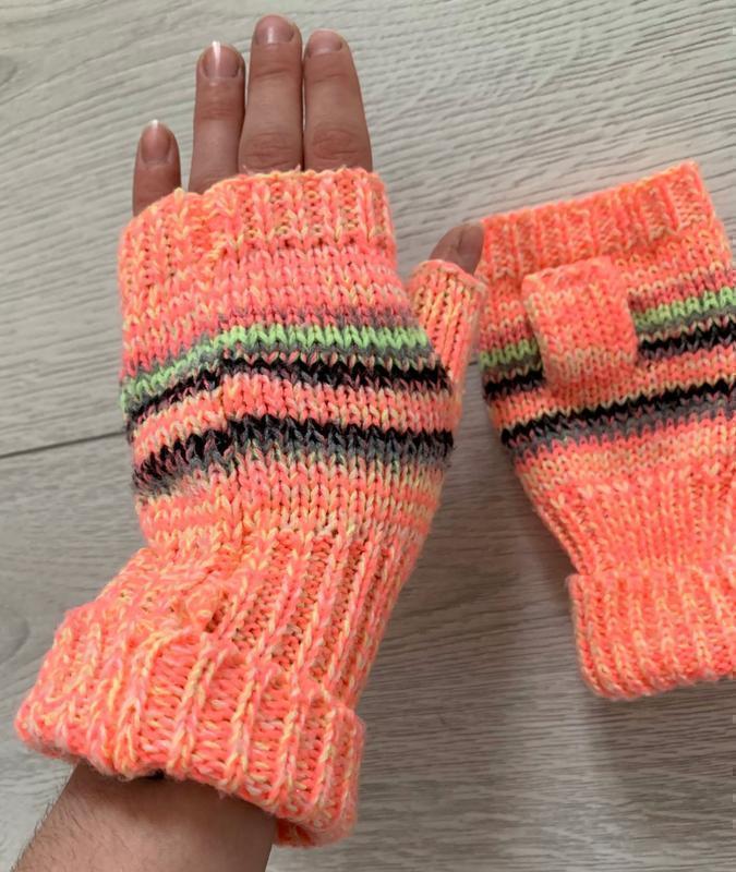 Перчатки, рукавиці, перчатки без пальців, мітенки рожеві.