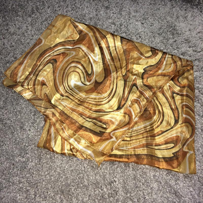 Платок шарф шелковый коричневый песочный