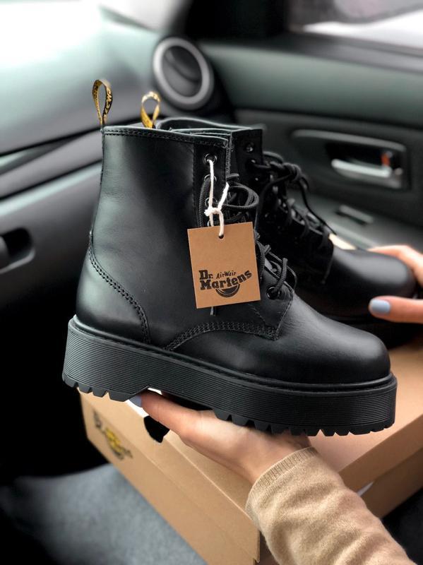 Dr. martens jadon black fur женские зимние ботинки с мехом мар...