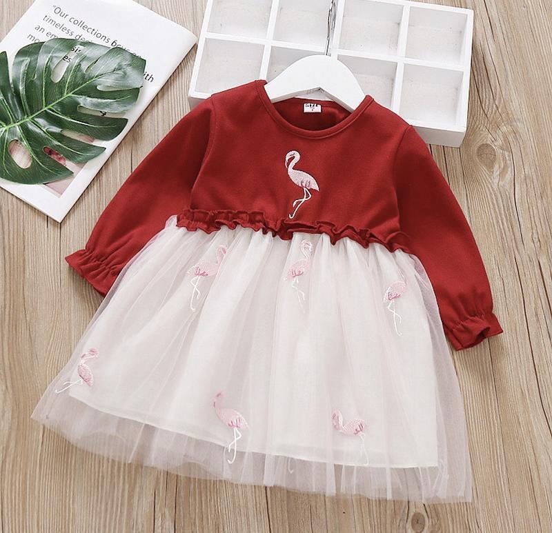 Платье фламинго сетка модное