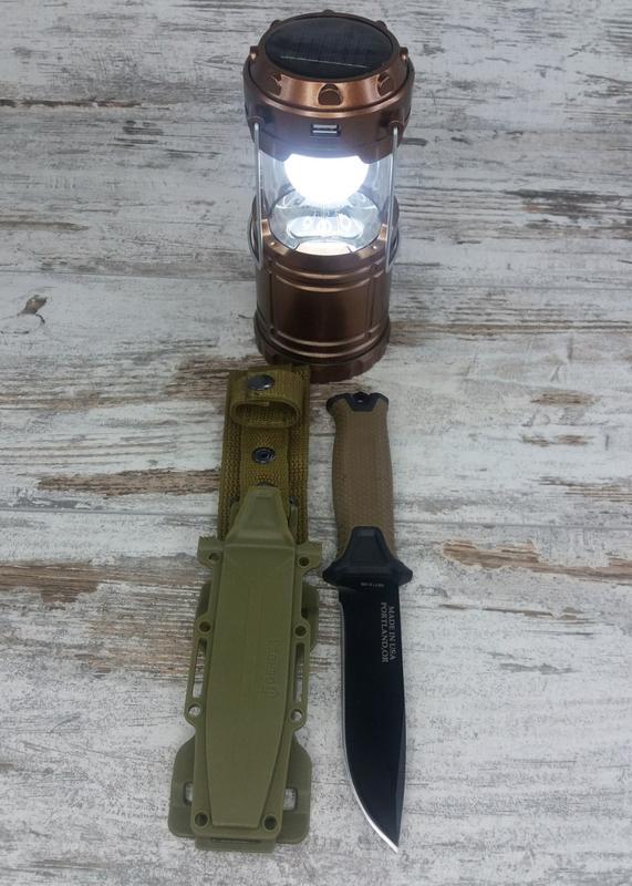 Кемпинговый складной фонарь G-85 в комплекте с охотничьим ножо...