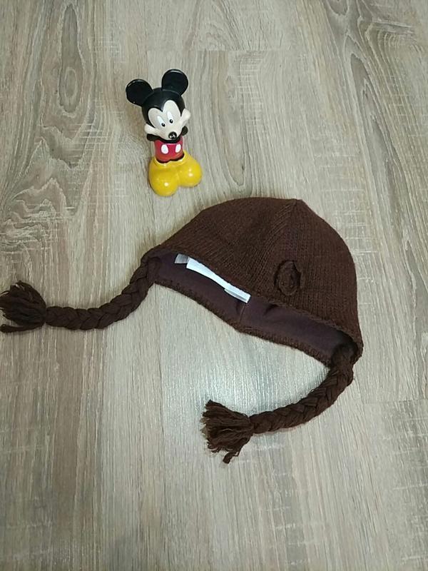 Шерстяная нарядная теплая шапочка на девочку 3-6-9 мес.