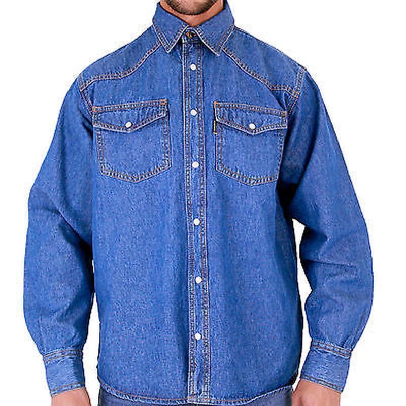Синяя мужская джинсовая рубашка aztec jeans с длинным рукавом