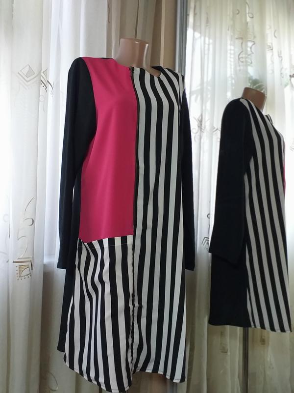 Платье комбинированной расцветки прямого кроя