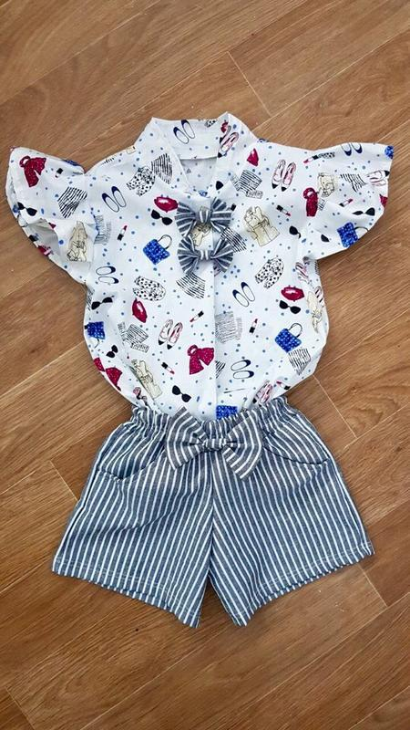 Детский костюм для девочки рубашка шорты бантик в полосочку