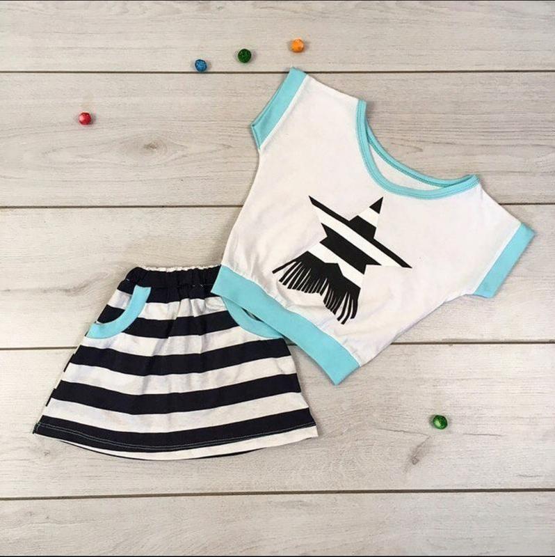 Детский летний костюм для девочки юбка топ, комплект