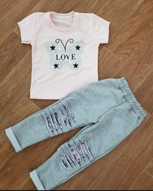 Детский летний костюм комплект для девочки 92-98 лосины футболка