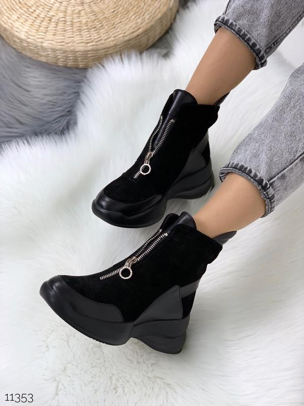 Стильные ботинки из натуральной кожи и замши (зима или деми на...