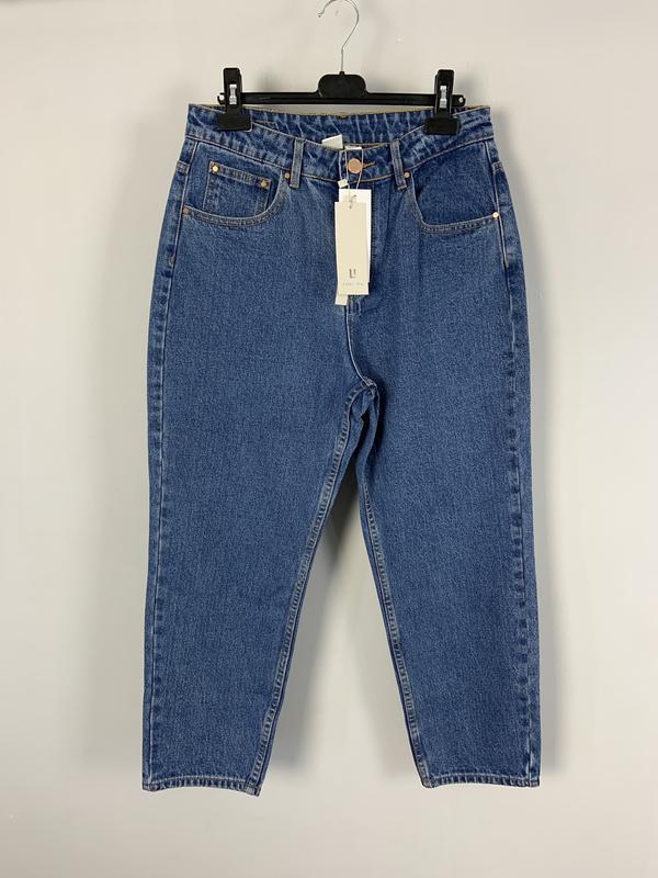 Качественные плотные синие джинсы мом на высокой посадке lost ink