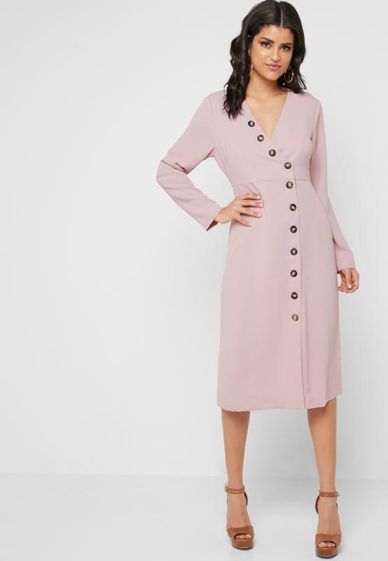 Шикарное качественное розовое платье миди с пуговицами на запа...