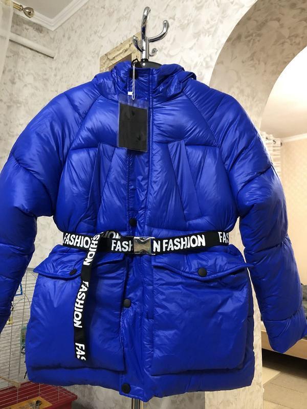 Объемная синяя куртка зима, новая!