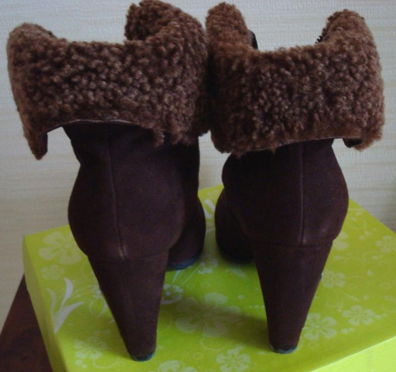 🌲🌲зимние полусапоги женские нат замш овчина на каблуке шоколад... - Фото 2