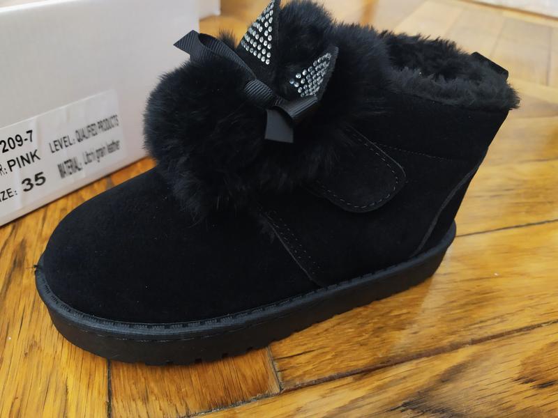 Угги детские ботинки зимние на девочку черные с ушками на липу...